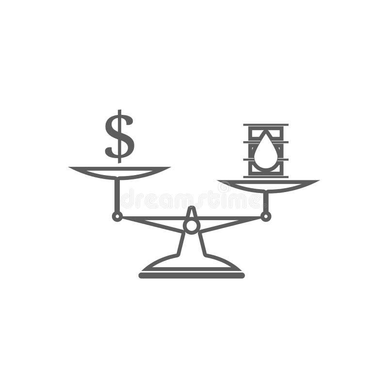 κόστος του πετρελαίου στο εικονίδιο κλιμάκων Στοιχείο του πετρελαίου για το κινητό εικονίδιο έννοιας και Ιστού apps Περίληψη, λεπ ελεύθερη απεικόνιση δικαιώματος