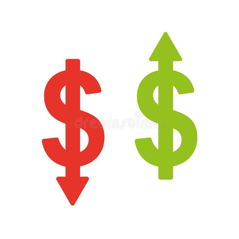 Κόστος που ελαχιστοποιεί το εικονίδιο Εικονίδιο μείωσης του κόστους διανυσματική απεικόνιση