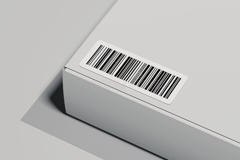 Κώδικας φραγμών στο άσπρο κιβώτιο που απομονώνεται στο ελαφρύ υπόβαθρο τρισδιάστατη απόδοση διανυσματική απεικόνιση