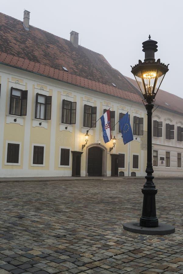 Κτήριο Dvori Banski, τετραγωνική, ανώτερη πόλη του σημαδιού του ST, Ζάγκρεμπ, Κροατία στοκ εικόνα με δικαίωμα ελεύθερης χρήσης