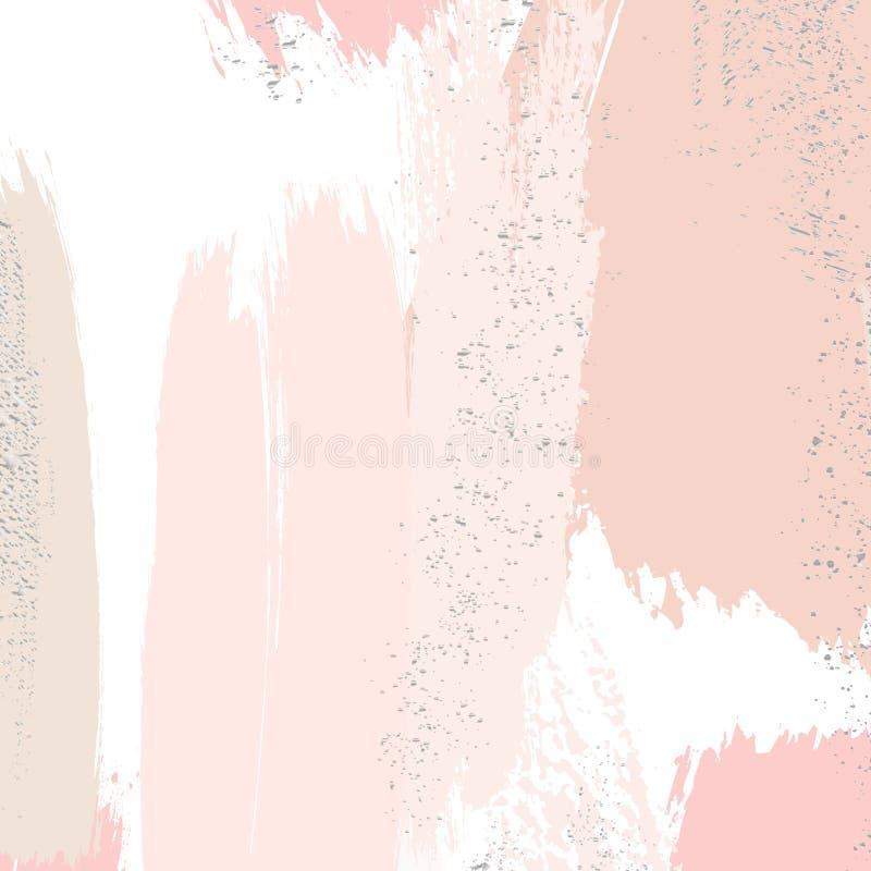 Κτυπήματα βουρτσών Watercolor με τις ροδαλές χρυσές μορφές grunge Ακτινοβολήστε τρυφερό πρότυπο καρτών splatters Λαμπρό σχέδιο τσ ελεύθερη απεικόνιση δικαιώματος