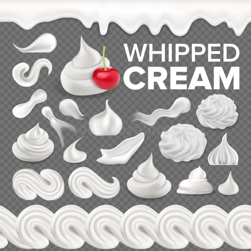 Κτυπημένο καθορισμένο διάνυσμα κρέμας Άσπρος κρεμώδης στρόβιλος Επιδόρπιο γάλακτος βανίλιας Μαλακό εικονίδιο διακοσμήσεων Frothy  διανυσματική απεικόνιση