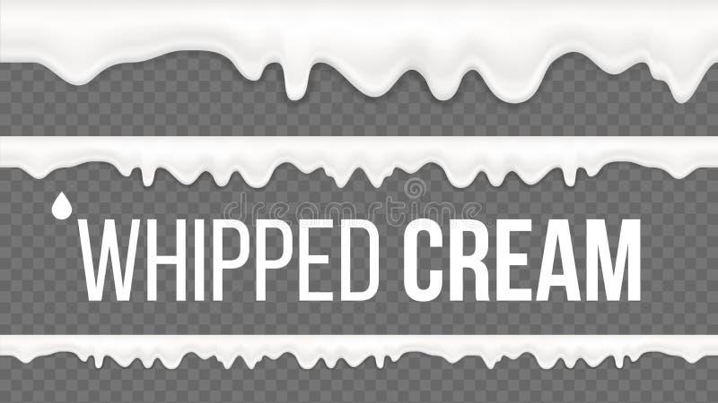 Κτυπημένο διάνυσμα σχεδίων κρέμας Άσπρος κρεμώδης στρόβιλος Επιδόρπιο γάλακτος βανίλιας Γλυκιά διακόσμηση Νόστιμο Twirl τρισδιάστ απεικόνιση αποθεμάτων