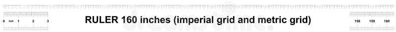 Κυβερνήτης 160 ίντσες αυτοκρατορικός Κυβερνήτης 160 ίντσες μετρικός Ακριβές μετρώντας εργαλείο Πλέγμα βαθμολόγησης απεικόνιση αποθεμάτων