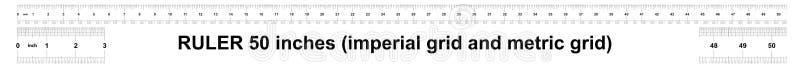 Κυβερνήτης 50 ίντσες αυτοκρατορικός Κυβερνήτης 160 ίντσες μετρικός Ακριβές μετρώντας εργαλείο Πλέγμα βαθμολόγησης ελεύθερη απεικόνιση δικαιώματος