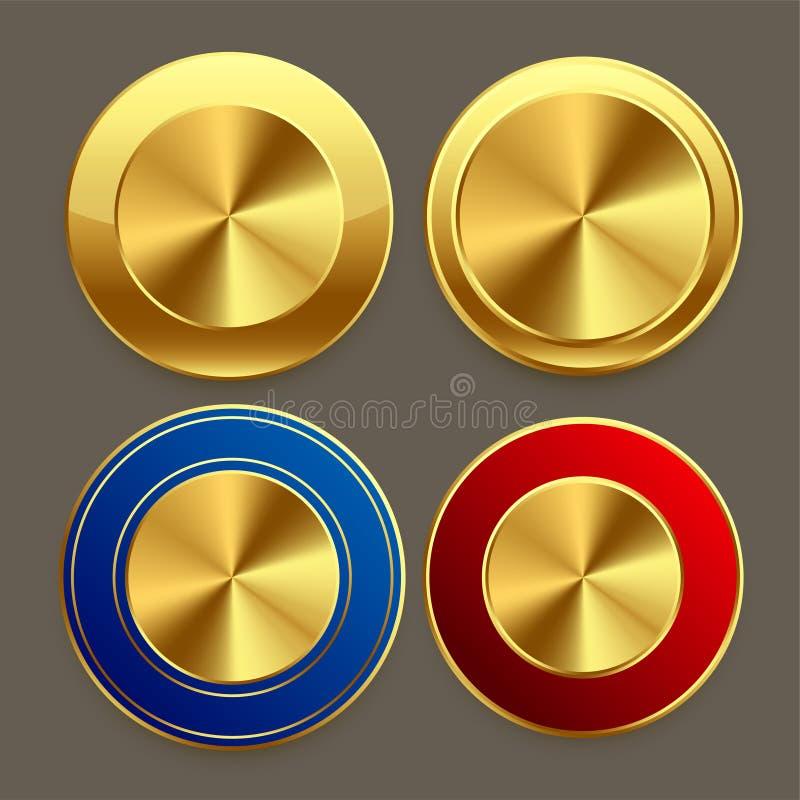 Κυκλικά κουμπιά μετάλλων ασφαλίστρου χρυσά καθορισμένα απεικόνιση αποθεμάτων