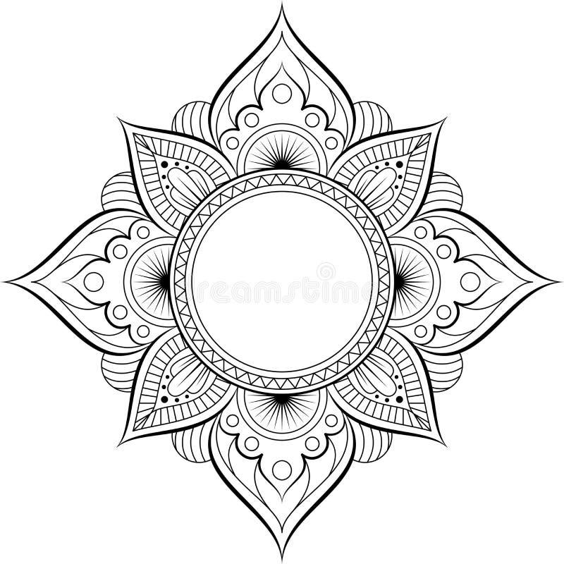 Κυκλικό σχέδιο με μορφή mandala για Henna, Mehndi, δερματοστιξία, διακόσμηση Διακοσμητική διακόσμηση στο εθνικό ασιατικό ύφος ελεύθερη απεικόνιση δικαιώματος