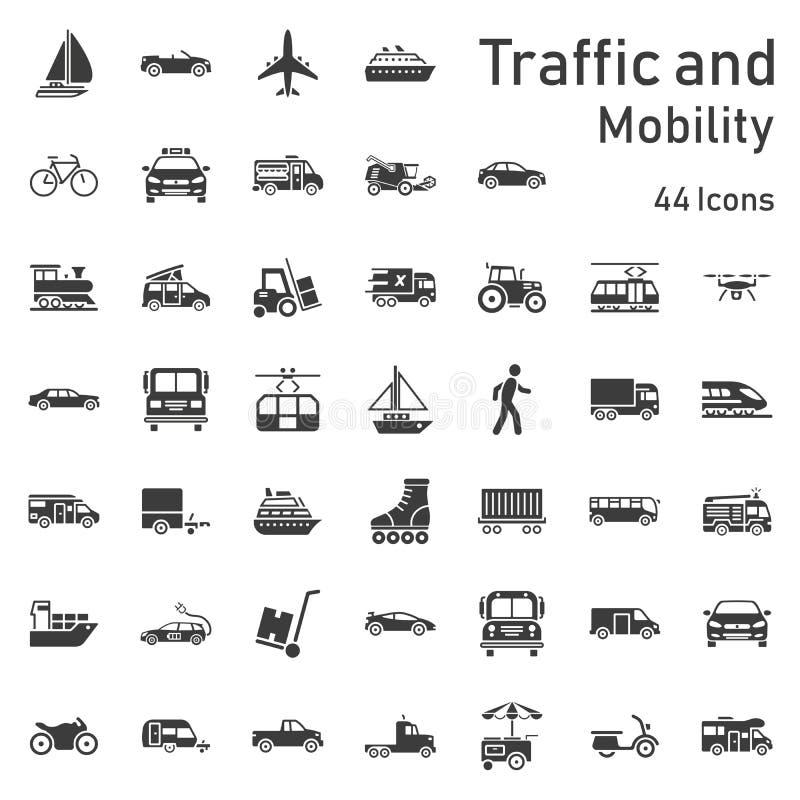 Κυκλοφορία και σύνολο εικονιδίων κινητικότητας διανυσματική απεικόνιση