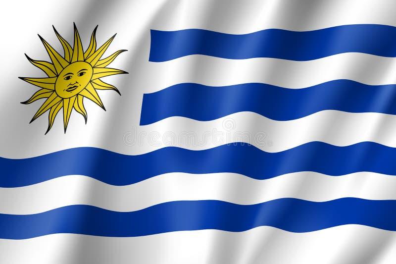 Κυματίζοντας σημαία της Ουρουγουάης απεικόνιση αποθεμάτων