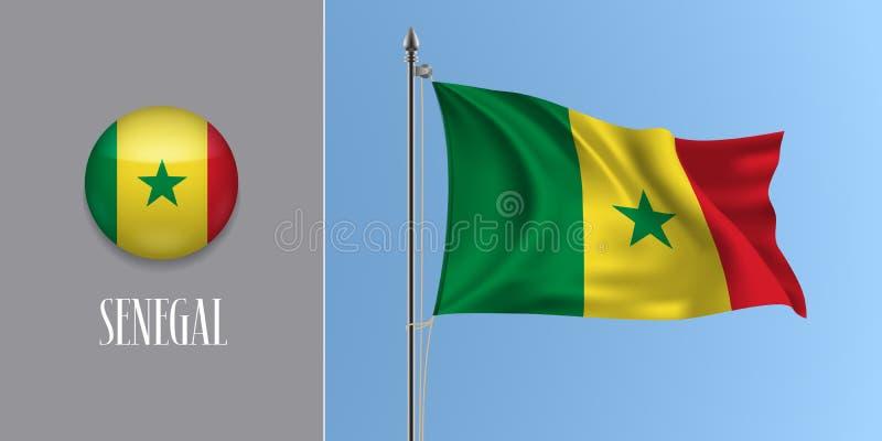 Κυματίζοντας σημαία της Σενεγάλης στο κοντάρι σημαίας και τη στρογγυλή διανυσματική απεικόνιση εικονιδίων διανυσματική απεικόνιση