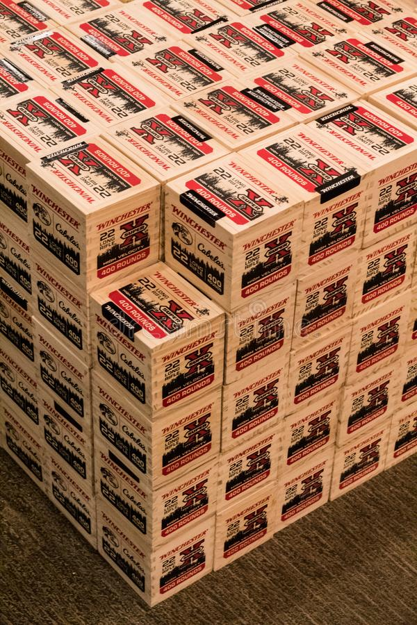 ΚΥΡΙΟ ΆΡΘΡΟ: Σωροί 22LR πυρομαχικά στην επίδειξη στο αθλητικό κατάστημα αγαθών στοκ φωτογραφίες