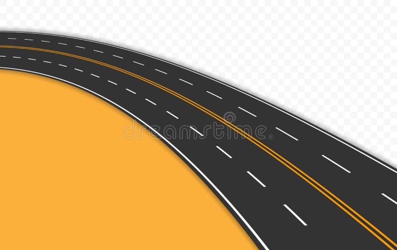 Κυρτός δρόμος με τα σημάδια επίσης corel σύρετε το διάνυσμα απεικόνισης διανυσματική απεικόνιση