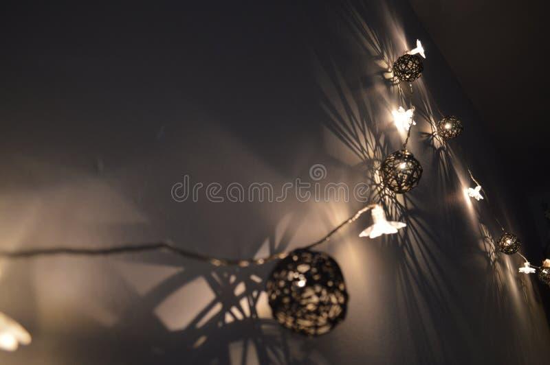 Λάμποντας διακοσμήσεις στη σκοτεινή νύχτα στοκ φωτογραφίες με δικαίωμα ελεύθερης χρήσης