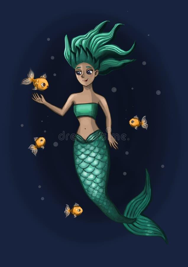 Λίγη γοργόνα με τα ψάρια διανυσματική απεικόνιση