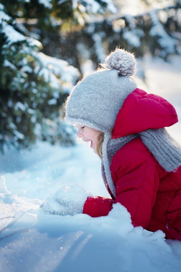 Λίγο εύθυμο κορίτσι στα χιονώδη ξύλα Ηλιόλουστη χειμερινή ημέρα στοκ εικόνα με δικαίωμα ελεύθερης χρήσης