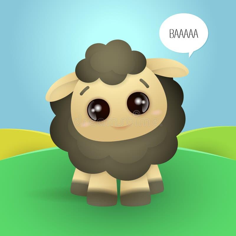 Λίγο χαριτωμένο σκοτεινό πρόβατο που λέει το baa ελεύθερη απεικόνιση δικαιώματος