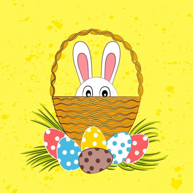Λαγουδάκι Πάσχας στο καλάθι και τα αυγά Πάσχας απεικόνιση αποθεμάτων