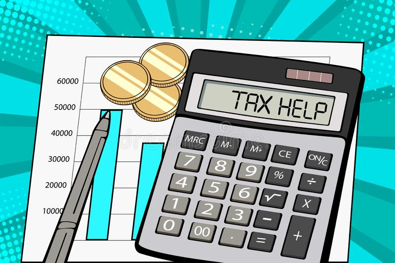 Λαϊκή επίδειξη τέχνης του υπολογιστή με τη φορολογική βοήθεια κειμένων απεικόνιση αποθεμάτων