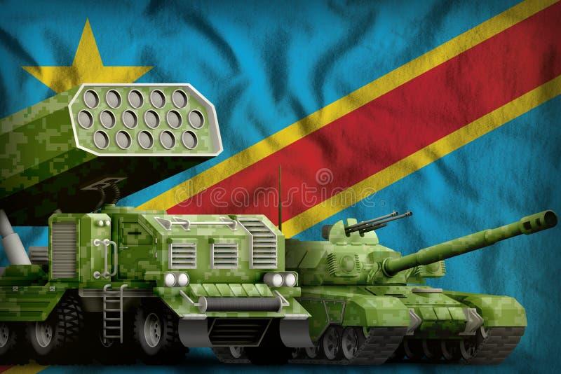 Λαϊκή Δημοκρατία της βαριάς στρατιωτικής έννοιας τεθωρακισμένων οχημάτων του Κονγκό στο υπόβαθρο εθνικών σημαιών τρισδιάστατη απε διανυσματική απεικόνιση