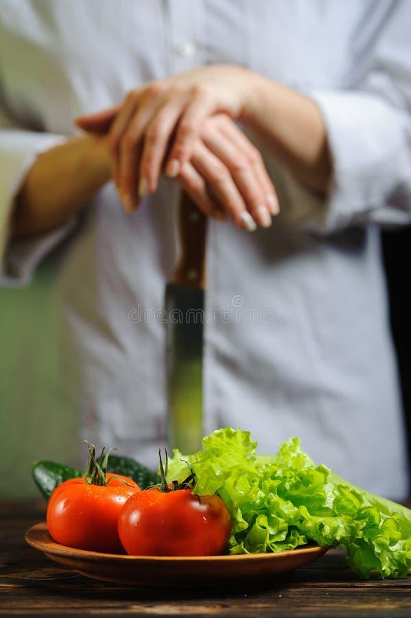 Λαχανικά για τη σαλάτα σε ένα πιάτο στον unrecognizable μάγειρα υποβάθρου στοκ εικόνες με δικαίωμα ελεύθερης χρήσης