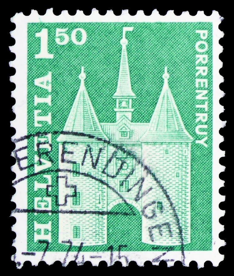 Λα Porte de Γαλλία, Porrentruy, ταχυδρομικά κίνητρα ιστορίας και μνημεία serie, circa 1968 στοκ φωτογραφίες