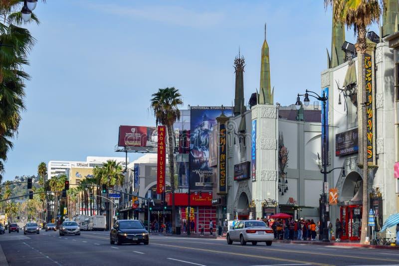 Λεωφόρος Hollywood μια ηλιόλουστη ημέρα στοκ εικόνες