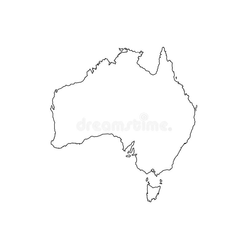 Λεπτός χάρτης της Αυστραλίας γραμμών με τη σκιά έννοια της άκρης εδάφους, σκιαγράφηση, περιλήψεις χωρών, έκταση η ανασκόπηση απομ διανυσματική απεικόνιση