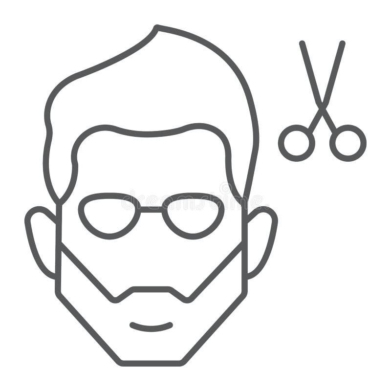 Λεπτό εικονίδιο γραμμών κουρέματος, κουρέας και hairstyle, γενειοφόρο σημάδι προσώπου, διανυσματική γραφική παράσταση, ένα γραμμι απεικόνιση αποθεμάτων