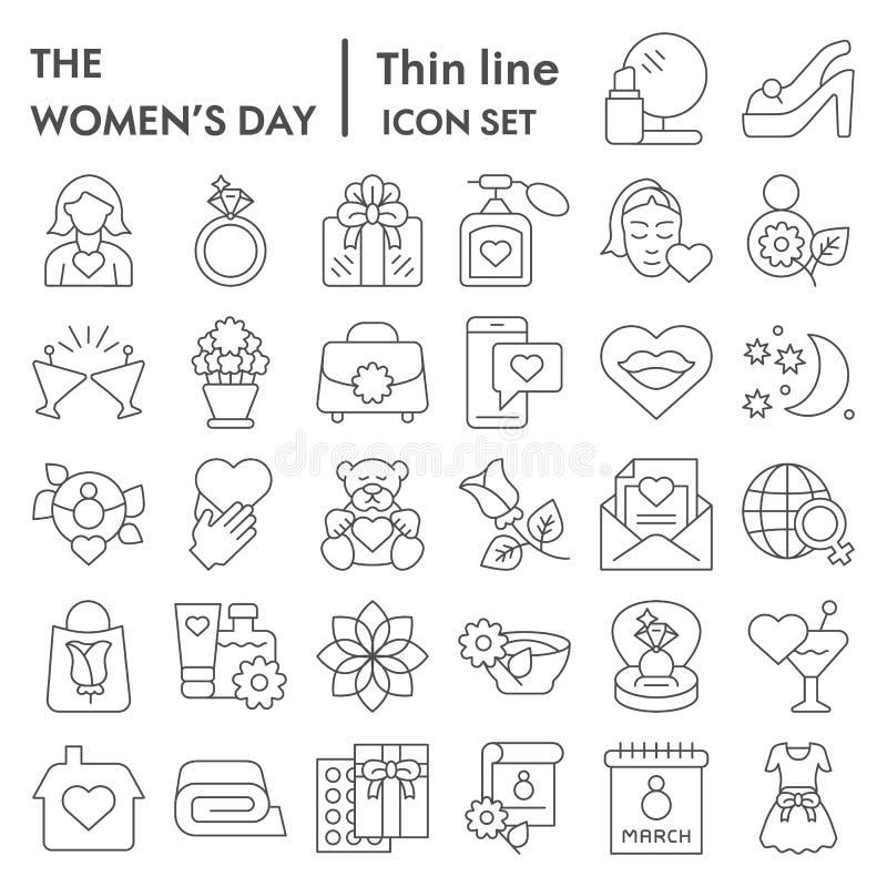 Λεπτό σύνολο εικονιδίων γραμμών ημέρας γυναίκας, συλλογή συμβόλων διακοπών της διεθνούς γυναίκας, διανυσματικά σκίτσα, απεικονίσε απεικόνιση αποθεμάτων
