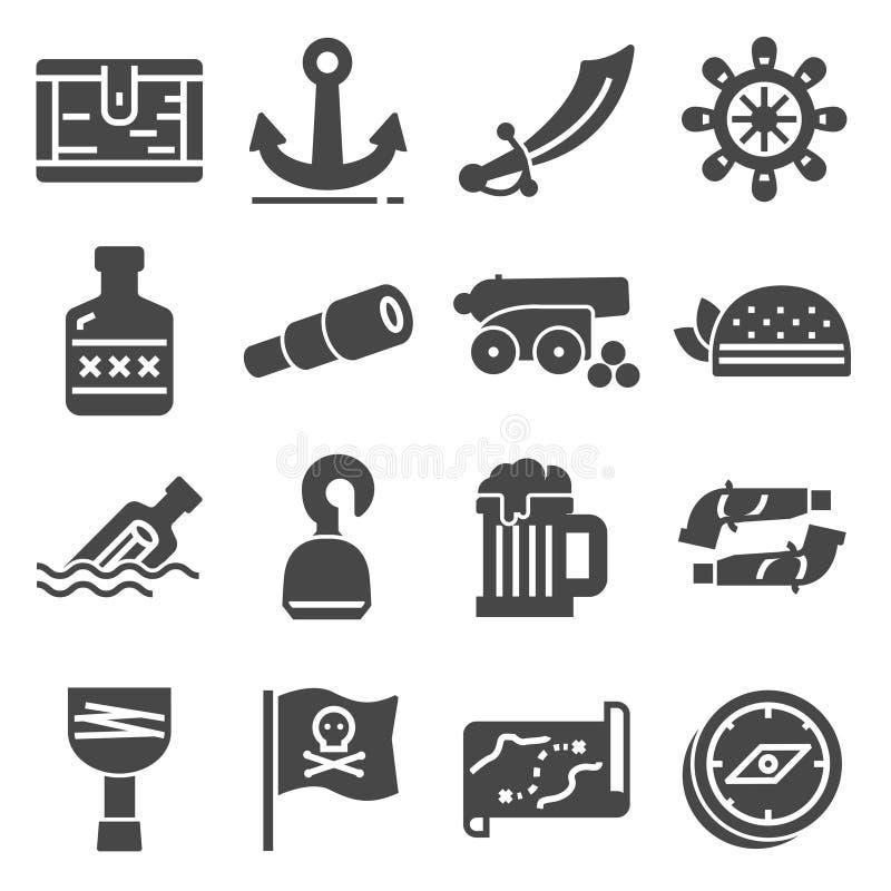 Ληστεύει τα εικονίδια καθορισμένα sabre, γάντζος, παλαιό σκάφος, τηλεσκόπιο, στήθος θησαυρών, πυροβόλο, άγκυρα, πηδάλιο, χάρτης,  απεικόνιση αποθεμάτων