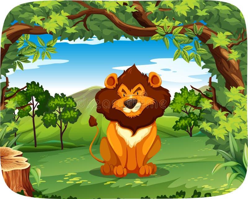 Λιοντάρι στη σκηνή φύσης ελεύθερη απεικόνιση δικαιώματος