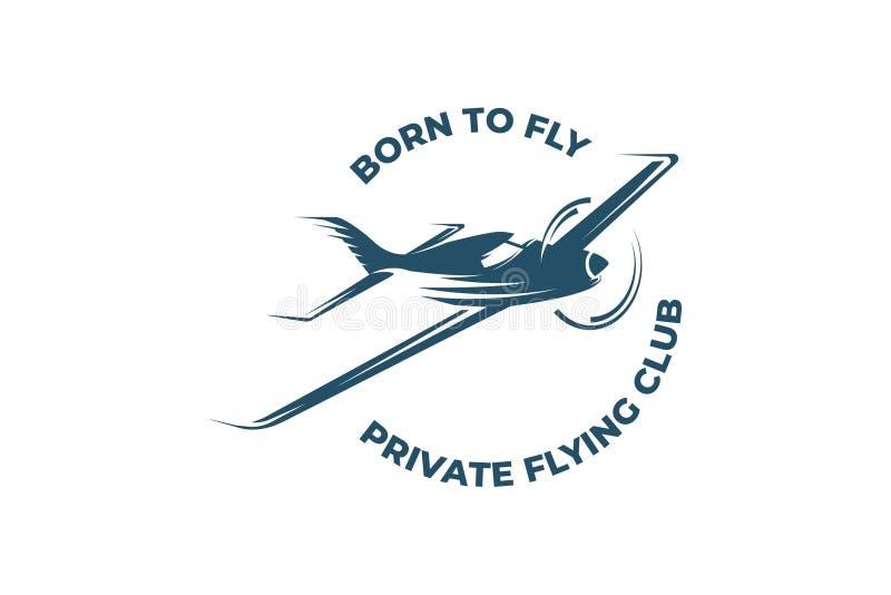 Λογότυπο αεροσκαφών της ιδιωτικής πετώντας λέσχης διανυσματική απεικόνιση