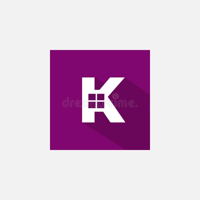 Λογότυπο γραμμάτων Κ για την ακίνητη περιουσία απεικόνιση αποθεμάτων