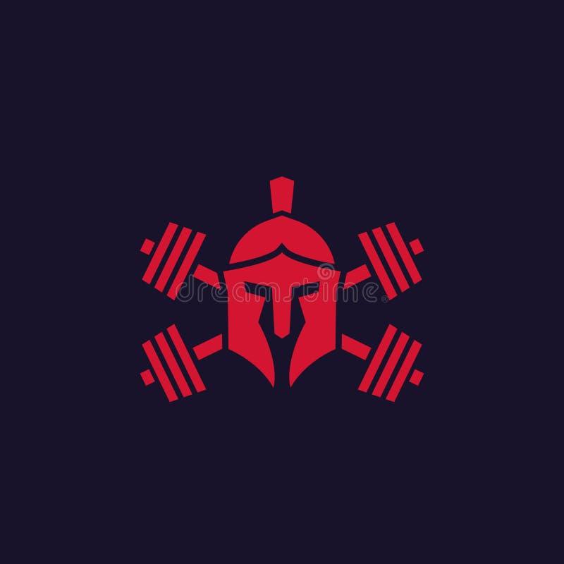 Λογότυπο γυμναστικής με το λιτό κράνος και barbells διανυσματική απεικόνιση