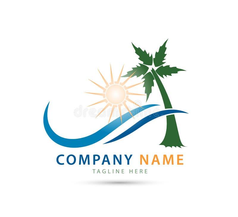 Λογότυπο κυμάτων θάλασσας, λογότυπο κυμάτων ήλιων, διάνυσμα λογότυπων κυμάτων φαλαινών με το όνομα επιχείρησής σας διανυσματική απεικόνιση