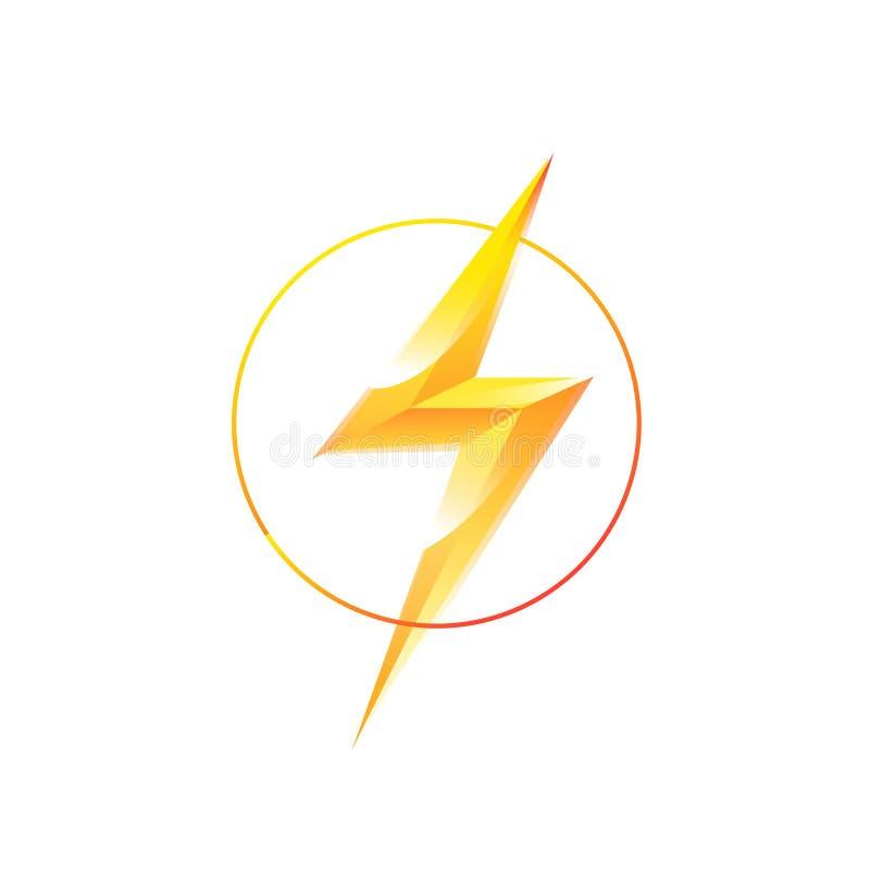 Λογότυπο της αστραπής σε έναν κύκλο διάνυσμα Η αστραπή χτυπά το κέντρο Η εικόνα είναι απομονωμένη στο άσπρο υπόβαθρο Glyph της λά διανυσματική απεικόνιση