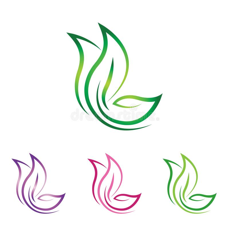 Λογότυπο φύσης φύλλων πεταλούδων - αφηρημένη τέχνη γραμμών ελεύθερη απεικόνιση δικαιώματος