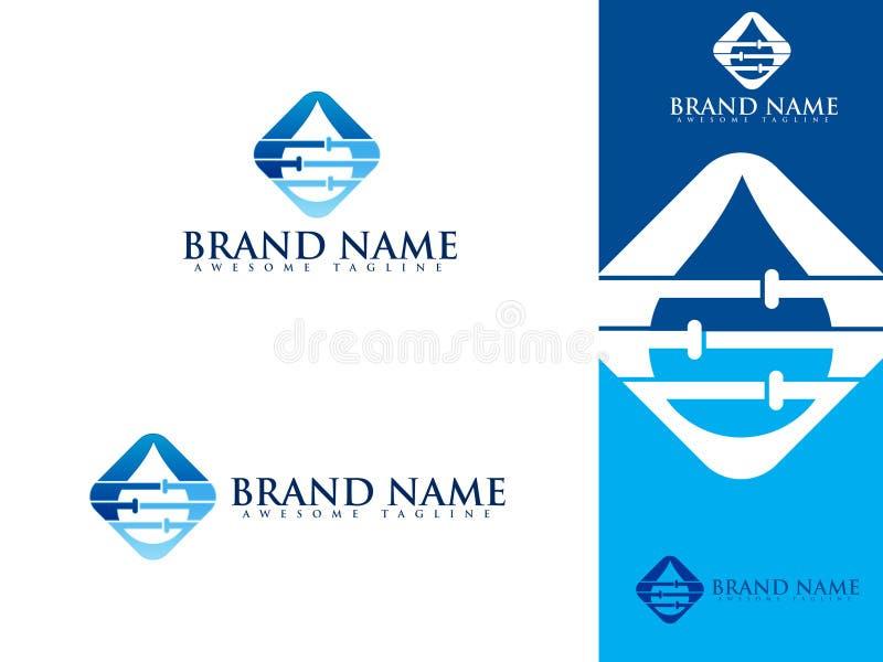 Λογότυπο υπηρεσιών υδραυλικών που τίθεται με το νερό και το σωλήνα απεικόνιση αποθεμάτων