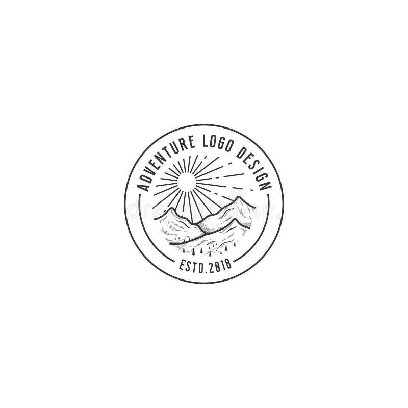 Λογότυπο περιπέτειας βουνών, ύφος τέχνης γραμμών, θερινές διανυσματικές απεικονίσεις Σχέδιο για την μπλούζα διανυσματική απεικόνιση