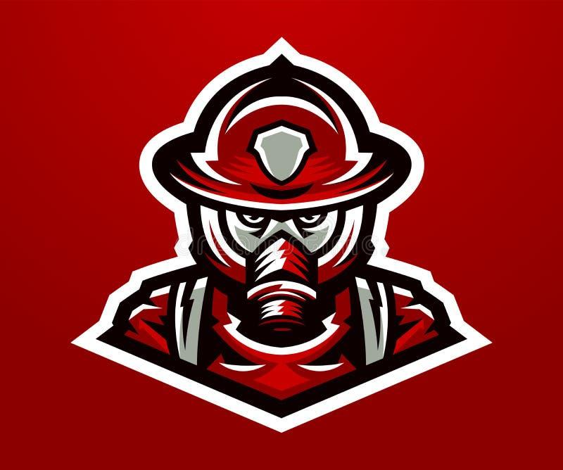 Λογότυπο, πυροσβέστης μασκότ Θανατηφόρος στόχος, ένα επικίνδυνο επάγγελμα, μάσκα, ομάδα διάσωσης, στολές επίσης corel σύρετε το δ διανυσματική απεικόνιση