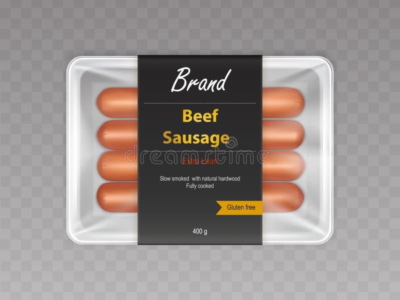 Λουκάνικα βόειου κρέατος στο σφραγισμένο ρεαλιστικό διάνυσμα συσκευασίας απεικόνιση αποθεμάτων