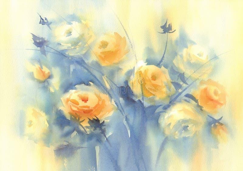 Λουλούδια anemnone χρωμάτων κρητιδογραφιών στο ελαφρύ υπόβαθρο watercolor διανυσματική απεικόνιση