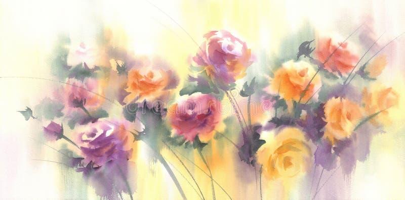 Λουλούδια anemnone χρωμάτων κρητιδογραφιών στο ελαφρύ υπόβαθρο watercolor ελεύθερη απεικόνιση δικαιώματος