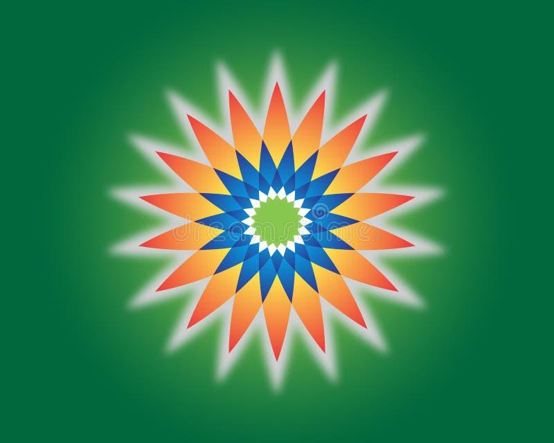 Λουλούδι της ζωής γεωμετρία ιερή Διανυσματικό πνευματικό σύμβολο Μπλε και κόκκινη διανυσματική απεικόνιση νέου στο πράσινο υπόβαθ απεικόνιση αποθεμάτων
