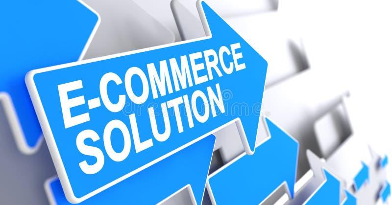 Λύση ηλεκτρονικού εμπορίου - επιγραφή στον μπλε δρομέα τρισδιάστατος ελεύθερη απεικόνιση δικαιώματος