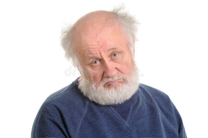 Λυπημένο πιέζοντας παλαιό απομονωμένο άτομο πορτρέτο στοκ φωτογραφία με δικαίωμα ελεύθερης χρήσης