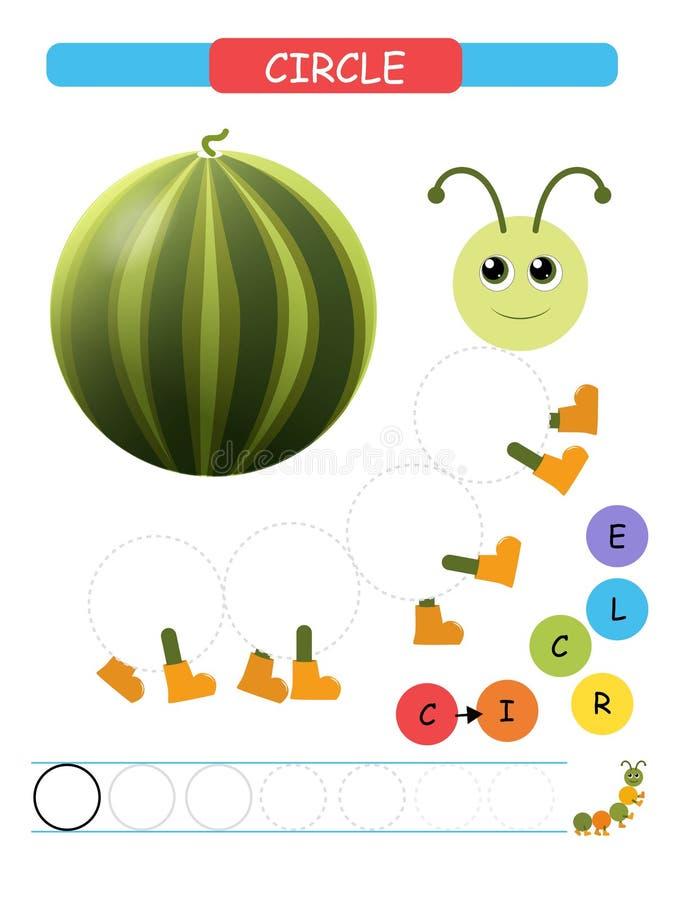 Μάθετε τις μορφές και τους γεωμετρικούς αριθμούς για το εκτυπώσιμο φύλλο εργασίας παιδικών σταθμών και παιδικών σταθμών Διανυσματ διανυσματική απεικόνιση