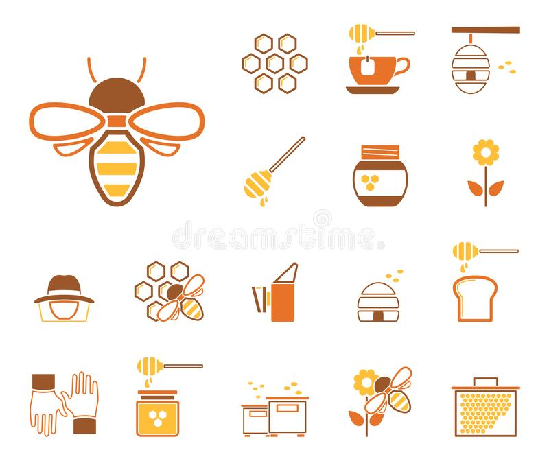 Μέλισσες & μέλι - Iconset - εικονίδια απεικόνιση αποθεμάτων