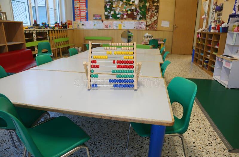 μέσα σε μια τάξη του παιδικού σταθμού και ενός παλαιού ξύλινου άβακα στοκ εικόνες