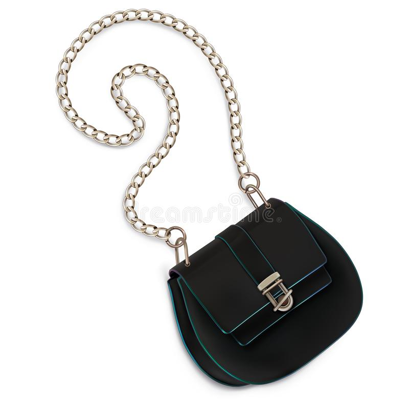 Μίνι τσάντα γυναικών, συμπλέκτης, με μια αλλεπάλληλη λαβή μαύρο χρώμα απεικόνιση αποθεμάτων
